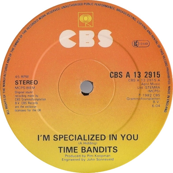 TIME BANDITS - I'M SPECIALIZED IN YOU (12'' SINGLE - Time Bandits - I'm Specialized In You (12'' Single) - 12 inch 45 rpm
