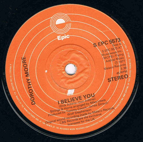 DOROTHY MOORE - I BELIEVE YOU (7'' SINGLE) - Dorothy Moore - I Believe You (7'' Single) - 7inch x 1