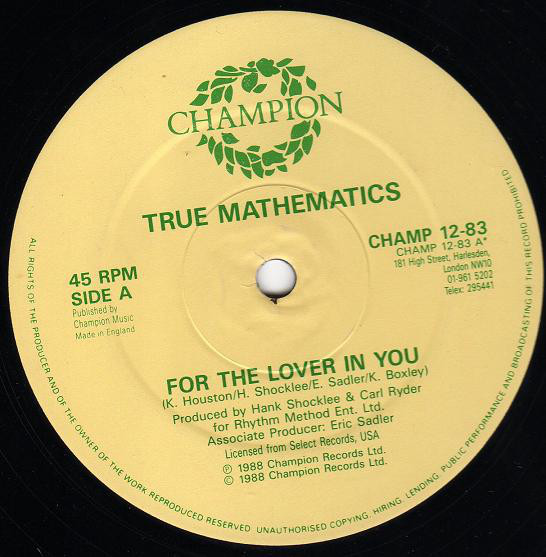 TRUE MATHEMATICS - FOR THE LOVER IN YOU (12'') - True Mathematics - For The Lover In You (12'') - 12 inch 33 rpm