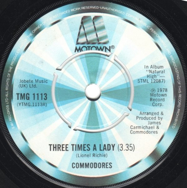 COMMODORES - THREE TIMES A LADY (7'' SINGLE PUS) - Commodores - Three Times A Lady (7'' Single Pus) - 7inch x 1