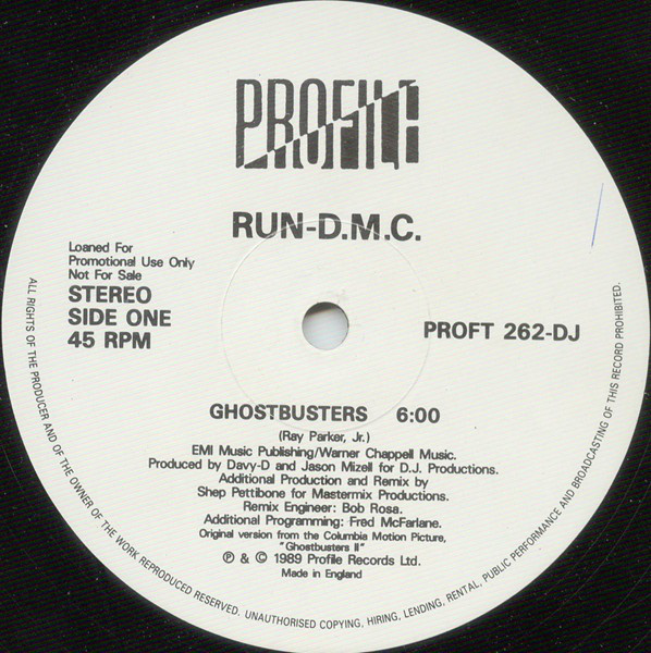RUN-DMC - GHOSTBUSTERS / PAUSE (12'' PROMO) - Run-DMC - Ghostbusters / Pause (12'' Promo) - 12 inch x 1