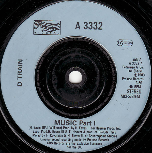 D TRAIN* - MUSIC (7'' SINGLE) - D Train* - Music (7'' Single) - 7inch x 1