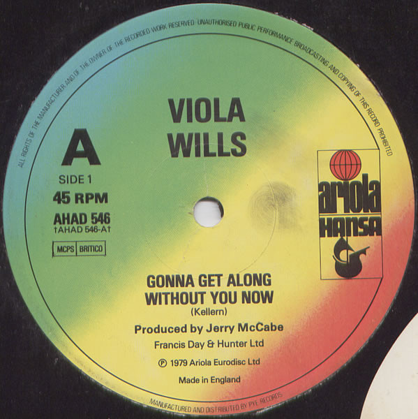 VIOLA WILLS - GONNA GET ALONG WITHOUT YOU NOW / YO - Viola Wills - Gonna Get Along Without You Now / Your Love (12'' Single) - Maxi 45T